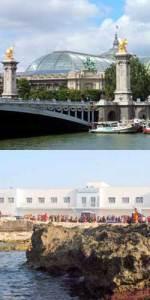 Il Grand Palais di Parigi (sopra) e il CPT di Lampedusa (sotto, naturalmente)