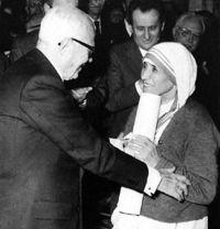 Sandro Pertini e Madre Teresa di Calcutta