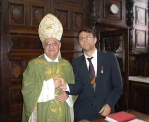 L'Autore con Mons. Fouad Twal a Codogno